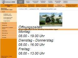 Internetsite des Landesarchiv NRW